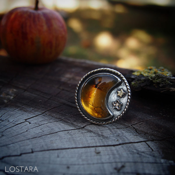 "Bague ""Cristaux d'Orange"""